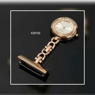 Nurse Pocket Watch Gold With Diamond