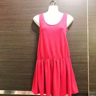 🚚 桃紅小洋裝