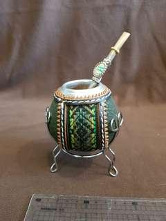 🚚 阿根廷瑪黛茶手工編織擺飾杯-a