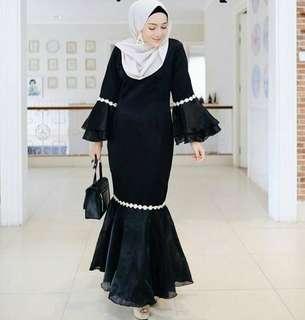 Baju kondangan dress hitam muslim