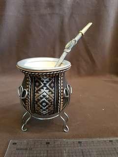 🚚 阿根廷瑪黛茶手工編織擺飾杯-c