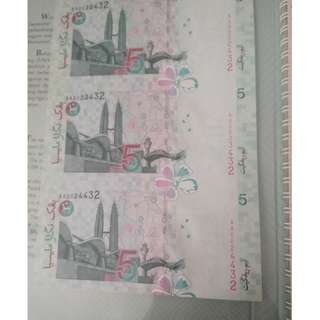 2pasang 3pcs uncut --siri7 and 10 notes