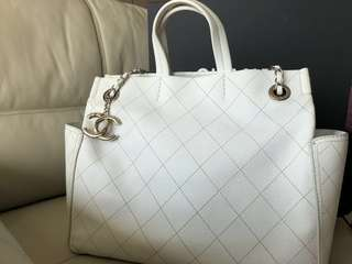 Authentic Chanel white Caviar Tote