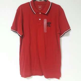 全新GAP男暗紅色polo衫