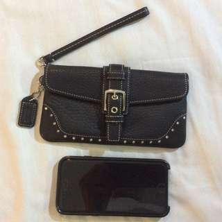 New Coach Pebbled Leather Medium Wristlet Wallet Clutch BLACK