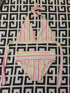 Pink Vertical Stripes Swimsuit