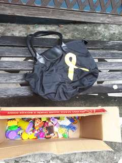 Bag with freebie toys