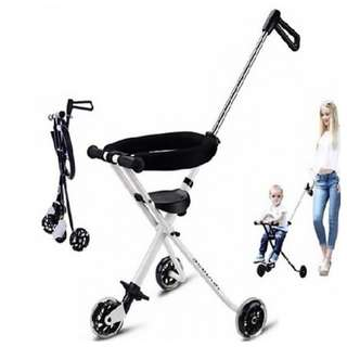 Baby Kids Children 3 wheels Stroller Troller Hand Push Portable Ultra Lightweight Foldable Tricycle