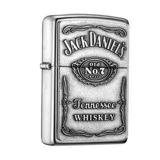 Authentic Jack Daniel's Zippo Lighter High Polish Chrome Full Face Emblem 250JD.427