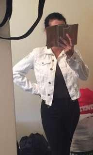 MESHKI white distressed denim jacket