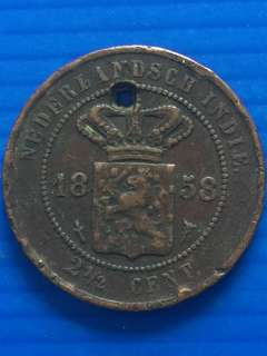 Netherlands Indie 2 1/2 Cent 1858, Rare , with hole