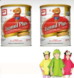 2 tins of Isomil plus 850g  with bathrobe ladybird