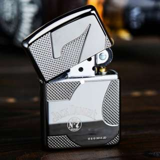 Authentic Zippo Jack Daniels Whiskey Black Ice Chrome Deep Carved Armor Lighter 28817