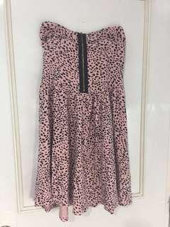 TOPSHOP Pink Leopard print tube dress