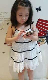 🚚 ⓈⒶⓁⒺ韓國設計童裝👧🏻細肩綁帶蕾絲小洋裝-11號