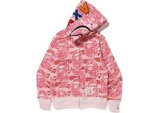 Bape XXV Cities Camo Shark Full Zip Hoodie Pink Size M