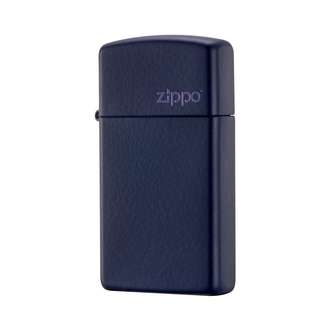 Authentic Zippo Lighter - SLIM Navy Blue Matte with ZIPPO Logo 1639ZL
