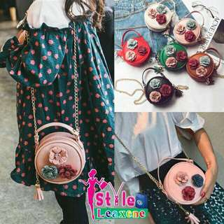 Round Floral Chain Strap Handbag/ Crossbody bag