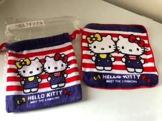Authentic Hello Kitty pouch and face towel