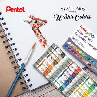 Pentel Arts Water Colors, Assorted Colors, Pack of 24 (WFRS-24)
