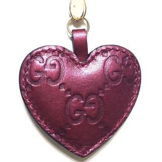 送禮之選 GUCCI 經典名牌酒紅色心形匙扣裝飾 Gucci Heart-shaped Charm Wine Red Burgundy Claret