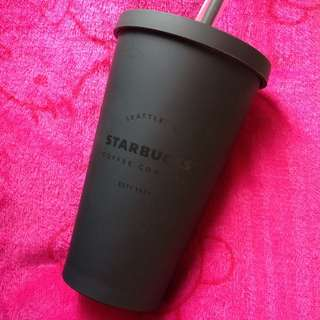 Starbucks Limited Edition Matte Black Cup with straw