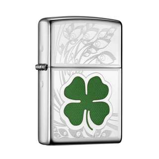 Zippo Lighter(Authentic) Polished Chrome/ CLVR Four Leaf Clover 24699
