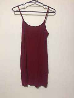 Dark red fitted dress
