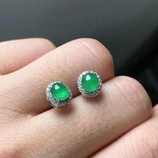 18K鑽石天然A貨陽綠耳釘