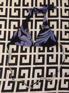 Black Blue Bikini Top