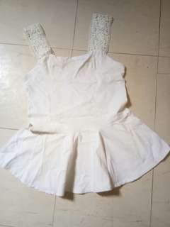White sleeveless cute top