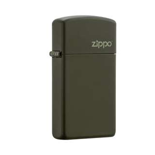 Authentic Zippo Lighter - SLIM Green Matte with ZIPPO Logo 1627ZL