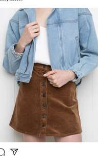 Brandy Melvile corduroy mustard skirt