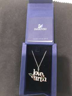 "(Free Shipping) Authentic Swarovski ""Love Earth"" 925 Silver Necklace 純銀 頸鏈"