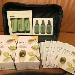 Innisfree Green tea set (3 bottles of serum, 3 bottles of cleansing foam, 48 facial mask) new and real