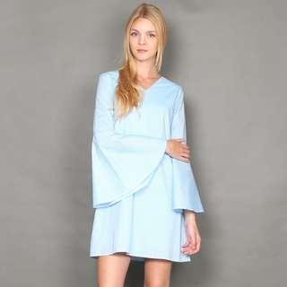 [FABFAD] Pin Striped Bell Sleeve Dress - Blue