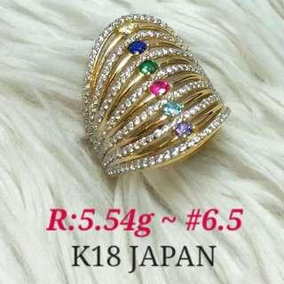 ( size: 6.5 ) 18K JAPAN GOLD RING ''''.