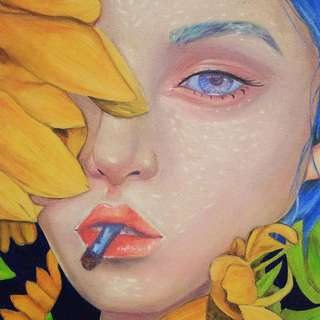 Sun Cigar (Sunflower and Cigarette) Oil Painting