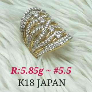 ( size: 5.5 ) 18K JAPAN GOLD RING ''''..