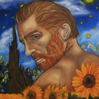 Vincent Van Gogh in the Sunflower Field Oil Painting