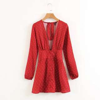 Red polka mini long sleeve dress