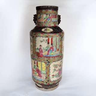 【清】– 廣彩哥窯鐵骨雙耳燈籠大瓶
