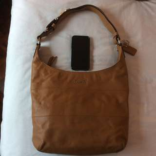 Preowned in Excellent Condition Coach Saddle Pieced Leather Hobo Crossbody