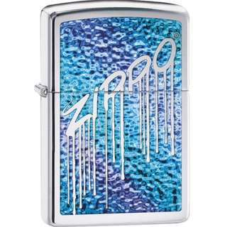 Authentic Zippo Lighter - Blue Fusion Liquid Design Logo High Polish Chrome 29097
