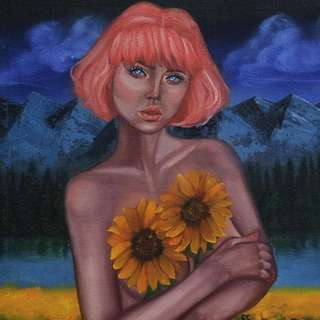 Holding Sunflowers and Cigarette (Oil Painting)