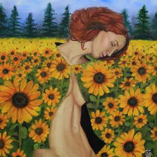 Clinch of the Sunflowers (Oil Painting)