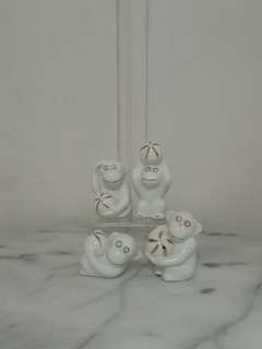White Glazed Monkey Height 5-7cm Perfect Condition 4pcs $20