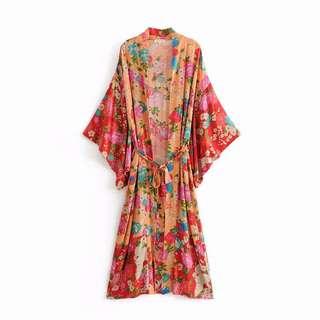 Boho Printed kimono lace shawl dress