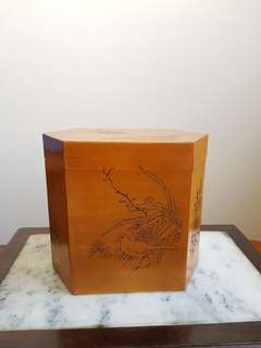 Old Chinese bamboo tea caddy