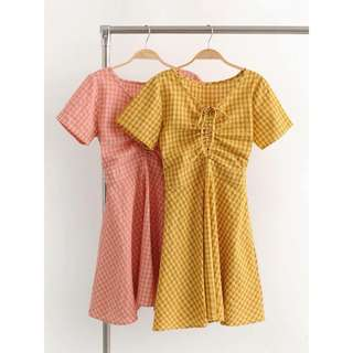 Checkered retro vintage pastel dress